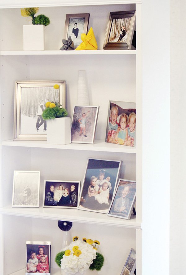 modern gray and yellow wedding bookcase decoration