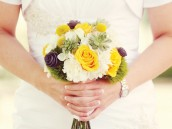 modern gray and yellow wedding bride's bouquet