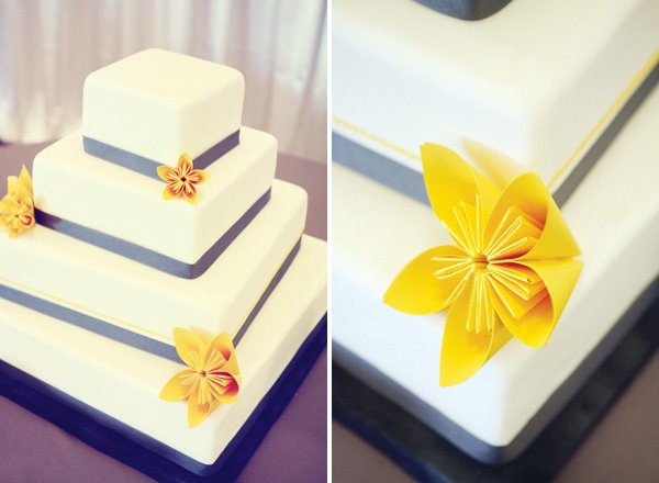 modern gray and yellow wedding cake