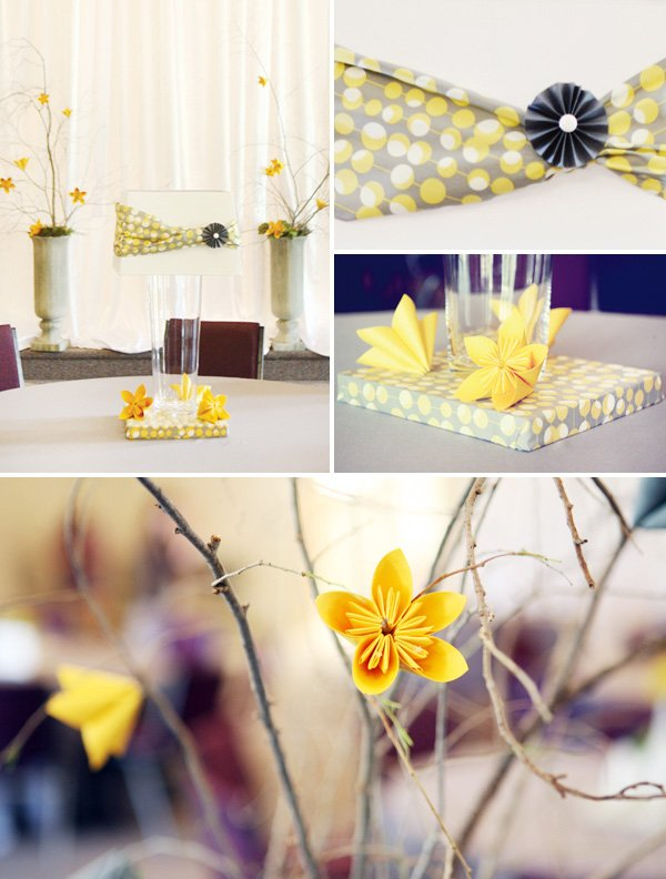 modern gray and yellow wedding centerpiece