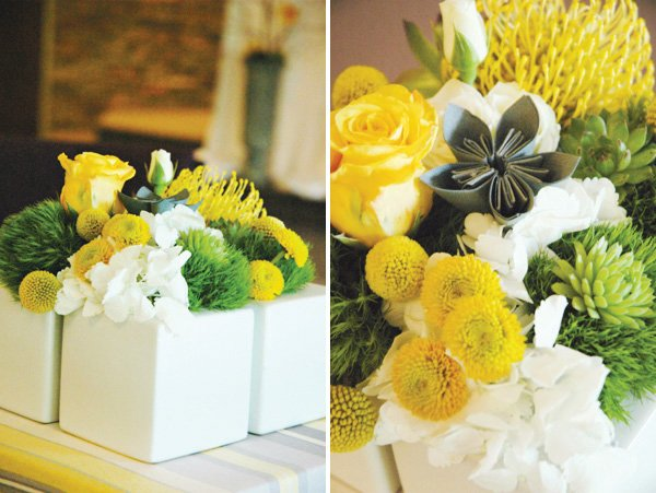 modern gray and yellow wedding floral centerpiece