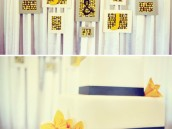 modern gray and yellow wedding frame backdrop