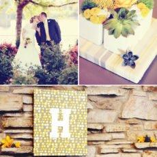 modern gray and yellow wedding wall decoration