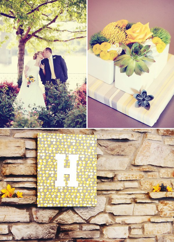 modern gray and yellow wedding wall decoration