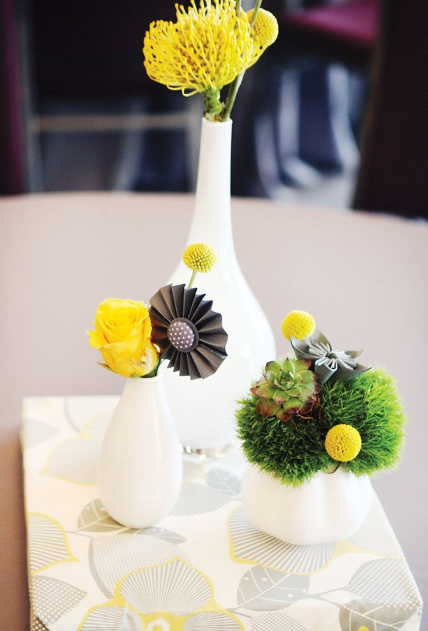 modern gray and yellow wedding white ceramic vases