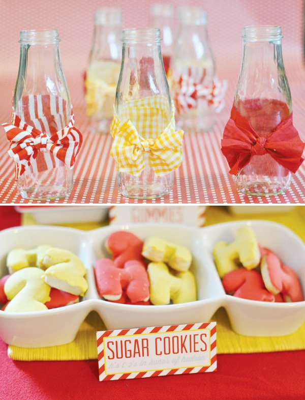 red and yellow birthday party with patterned printables