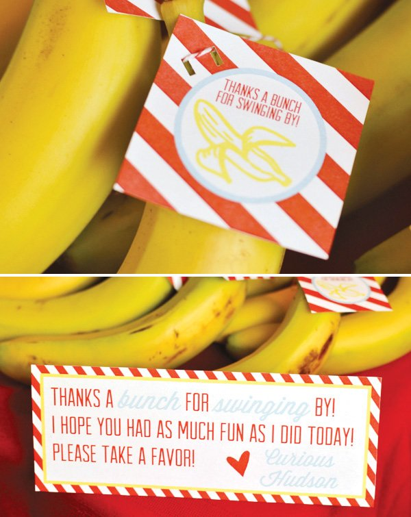 banana party favors with red and yellow striped printable
