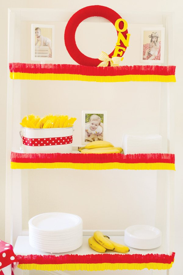 yellow and red first birthday decorations