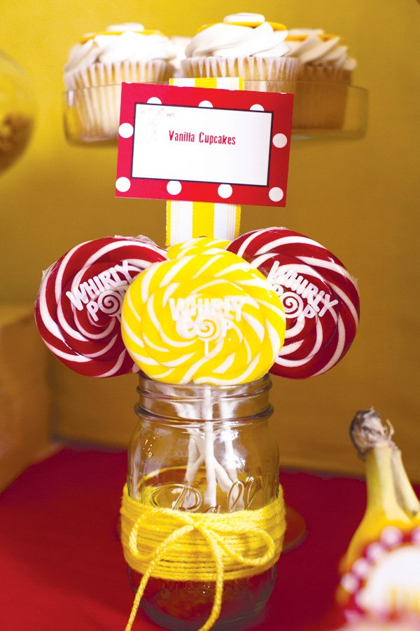 red and yellow lollipops