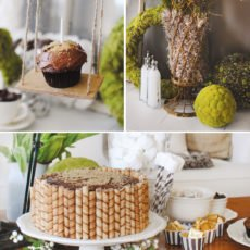 Mossy garden themed first birthday with moss covered decorations and mini cupcake tree swing