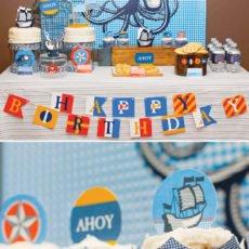 Nautical themed dessert table