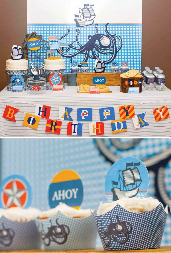Nautical themed dessert table
