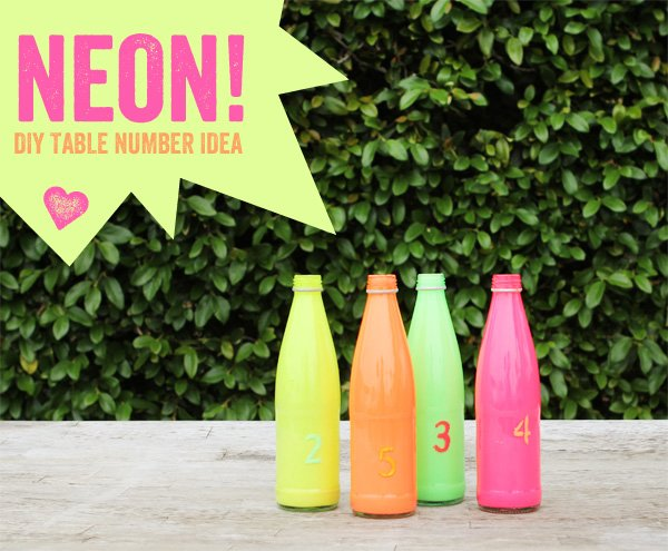 neon bottles diy centerpiece