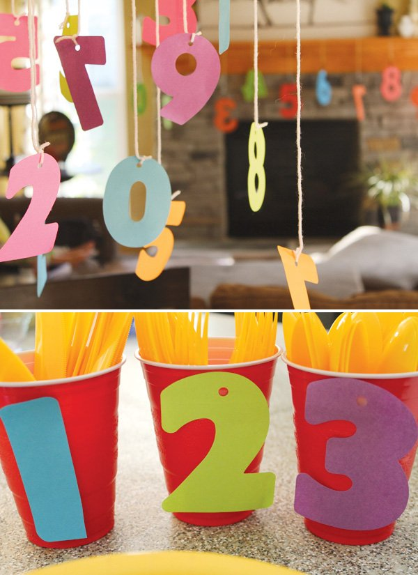 Number Birthday Party with paper number cut-outs