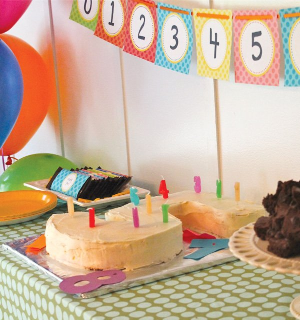 Numbers birthday party with colorful number bunting