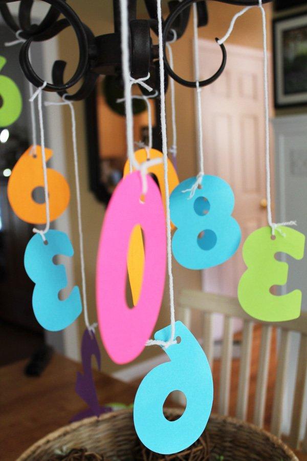 DIY paper number chandelier