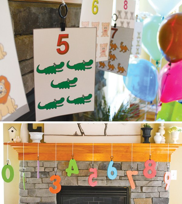 Numbers party flashcards and numbers mantle decorations