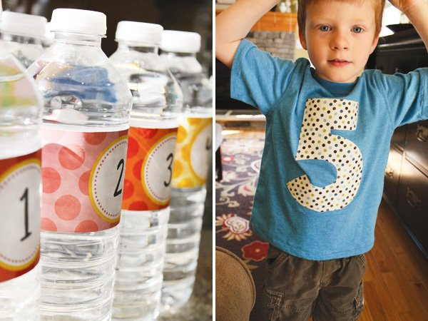 Water bottle numbered printables and 5th birthday shirt