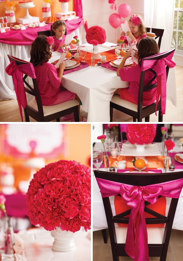 pancake and pajama party pink flower centerpiece