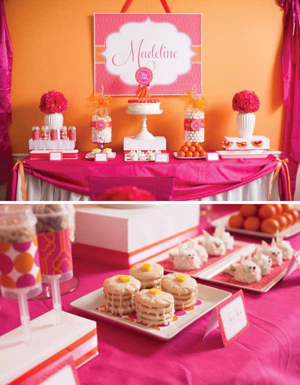 pancake and pajama party pink and orange dessert table