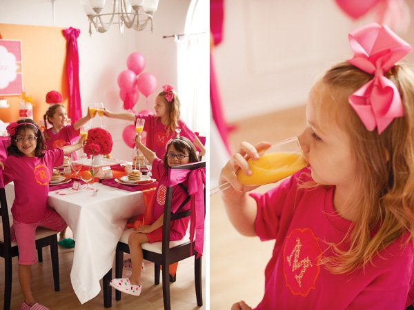 pancake and pajama party with orange juice in champagne glasses