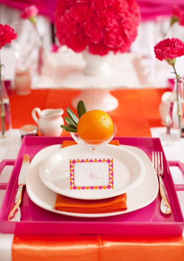pancake and pajama party place setting with an orange
