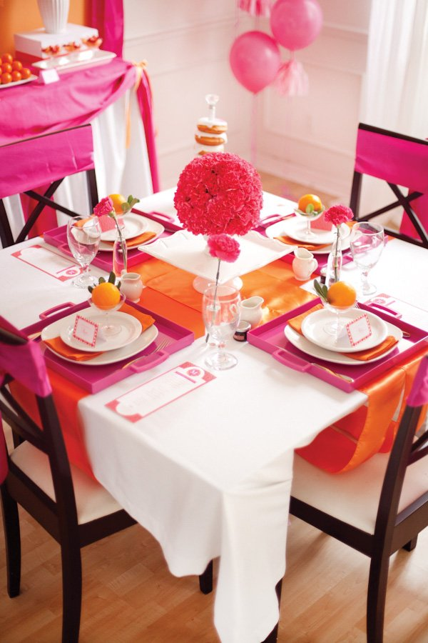 pancake and pajama party pink and orange tablescape