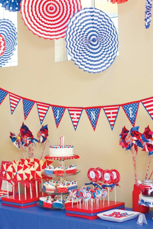 patriotic pinwheels party dessert table