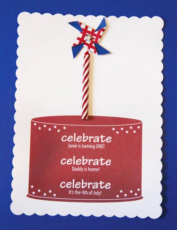 patriotic pinwheels party holiday and birthday celebration invitation