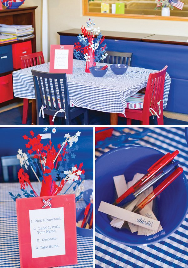patriotic pinwheels party holiday red white and blue