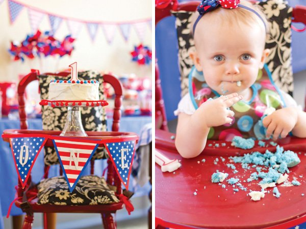 Patriotic Pinwheels Party First Birthday Cake