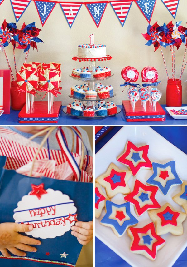 patriotic pinwheels party dessert table