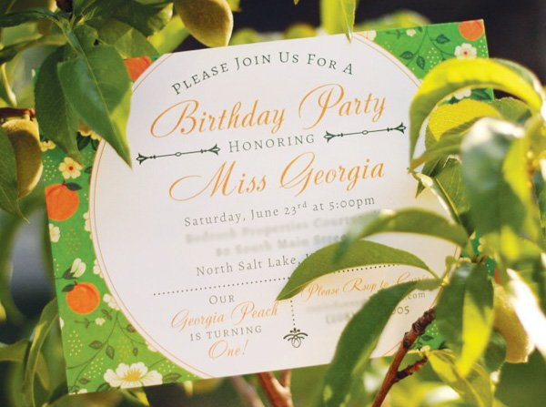 Georgia peach party invitation