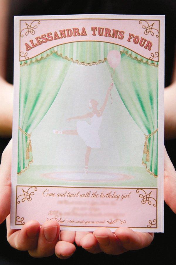 pink ballerina invitation