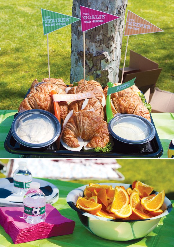 pink and green soccer party with fun food flags