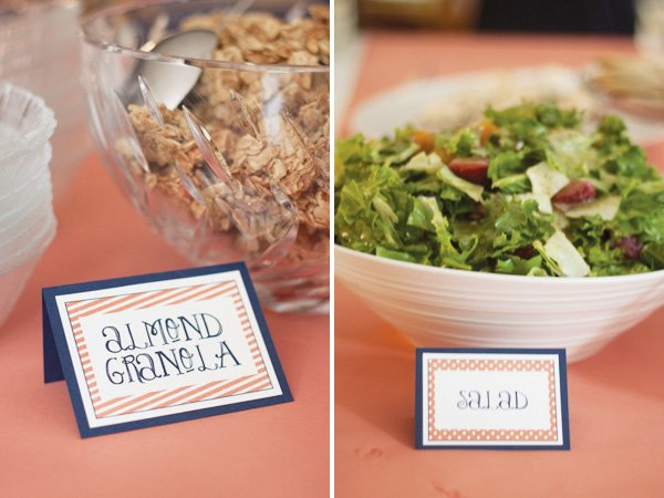 pink and navy food labels