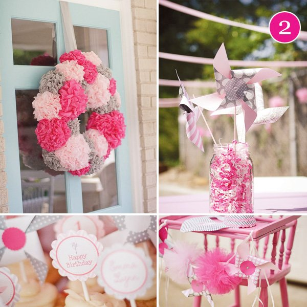pink pinwheels and pom poms