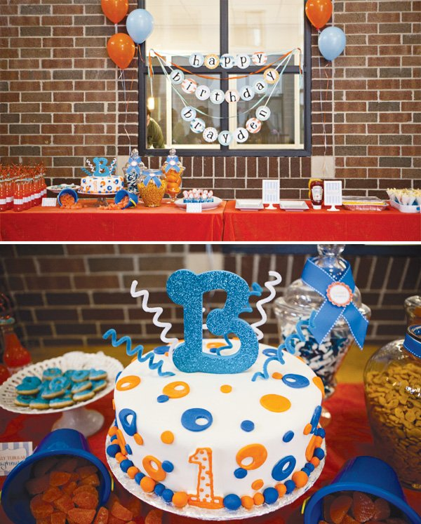 pool party first birthday dessert table