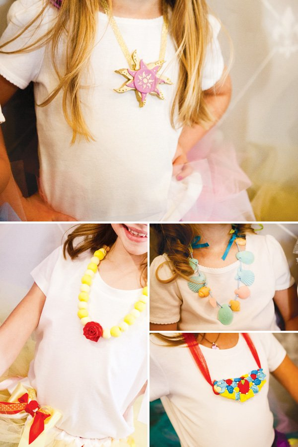princess necklaces made out of cookies and candy for a fashion show party