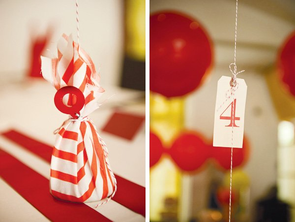 red rabbit first birthday party balloon table numbers