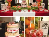red dol head table desserts