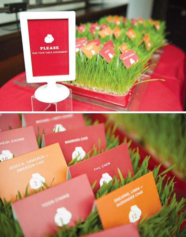red rabbit birthday seating cards