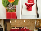 red rabbit first birthday party tablescape