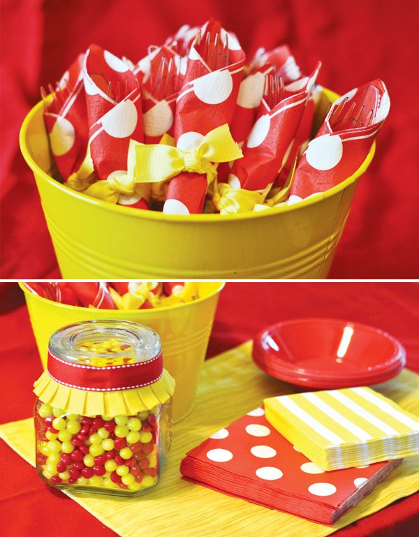 red and yellow polka dot party decorations
