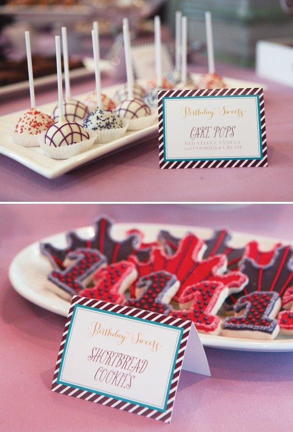 Cake pops and crown cookies