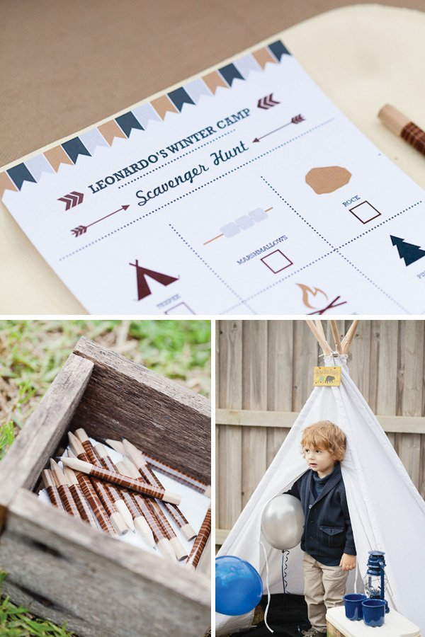 Scavenger hunt printable with washi tape wrapped pencils