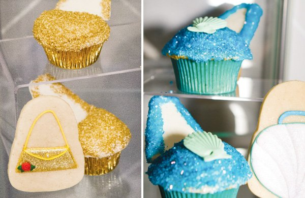 shoe cupcakes in gold and sapphire for a fashion show party