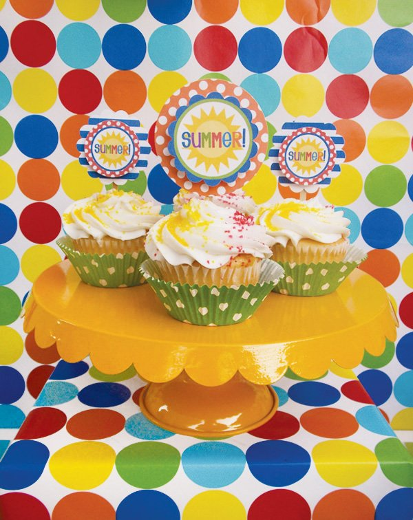 colorful summer pool party cupcake toppers