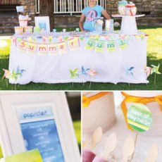 summer popsicle party with watercolor details