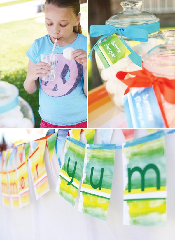 summer watercolor party bunting